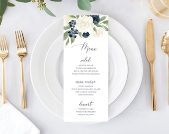 Printable Wedding Menu, Table Setting Menu, Reception Menu, White and Navy Floral, Menu Template, Instant Download