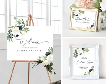 Welcome To Our Wedding Sign, Wedding Sign Bundle Wedding Hashtag Sign, Wedding Signs Navy and White Floral Signs, Edit with Templett