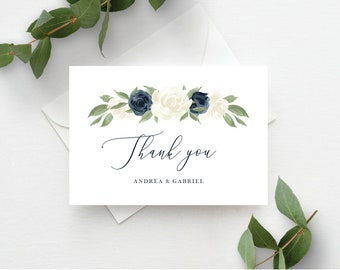 Thank You Card Template, Thank You Cards, Instant Download, Editable Template, Navy and White Floral Printable