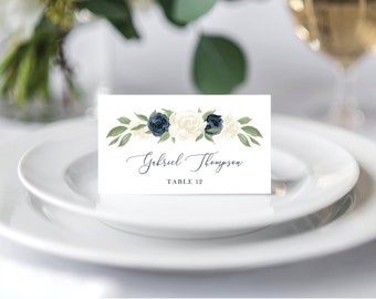 Place Card Template, Escort Card Template, Printable Wedding Place cards, Wedding Escort Cards, Name Cards, Place Setting, Navy and White
