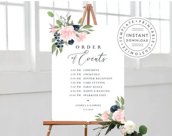Wedding Order of Events Sign, Floral Navy and Blush Pink  137V1WED