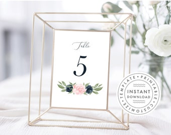 Floral Navy and Blush Pink Table Number Template, Table Numbers, Printable Table Numbers, Table Numbers 1-40, 137V1WED