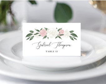Blush Pink and White Floral Wedding Place Cards Template