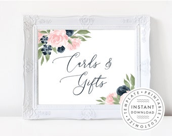Cards and Gifts Sign Printable, Floral Navy and Blush Pink  137V1WED