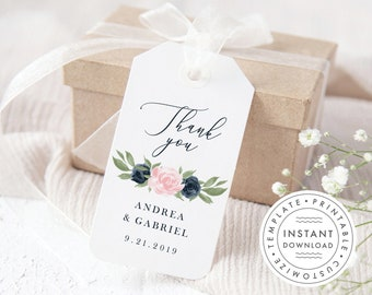 Navy and Blush Floral Printable Thank You Gift Favor Tags Wedding, Bridal Shower, Baby Shower, Instant Download Editable Template 137V1WED
