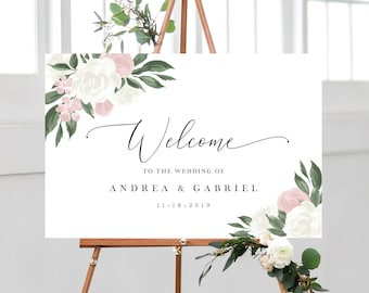 Blush Pink and White Floral Wedding Welcome Sign Template