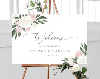 Floral Welcome sign I Wedding sign roses I Editable welcome sign template I Roses signI Wedding receptionI Printable sign I Templett ETHR