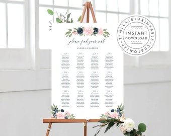 Printable Wedding Seating Chart Template, Blush Pink and Navy Blue Floral, Instant Download, Edit with Templett, 137V1WED