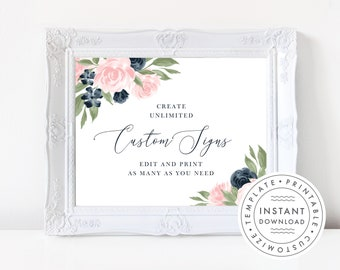 Printable Wedding Sign Template, Floral Navy and Blush Pink  137V1WED