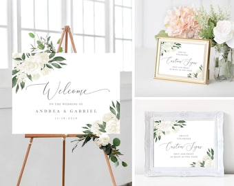 White Floral Greenery Wedding Welcome Sign Template Bundle