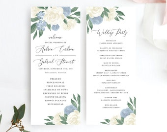 Dusty Blue and White Floral Wedding Program Template