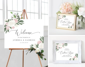 Wedding Welcome Sign Template Bundle with Blush Pink and White Floral Design, Fully Editable Colors and Wording with Templett, 137V11