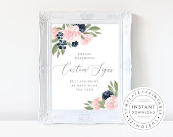 Instant Download Wedding Sign Template, Floral Navy and Blush Pink  137V1WED