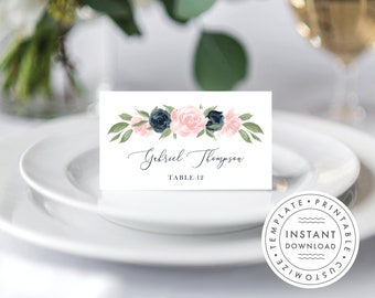 Blush Pink and Navy Floral Place Card Template 137V1WED