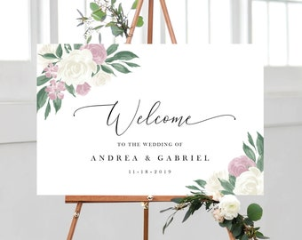 Dusty Rose and White Floral Wedding Welcome Sign Template