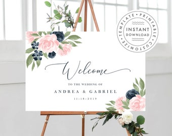 Wedding Welcome Sign Template Navy Pink Blush and Greenery 137V1WED