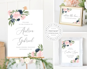 Wedding Sign Bundle includes Welcome Sign, Custom Sign and Wedding Hashtag Share the love sign, Navy and Blush Pink, 137V1WED