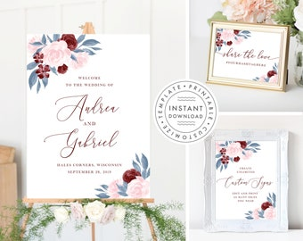 Wedding Sign Bundle includes Welcome Sign, Custom Sign and Wedding Hashtag Share the love sign, Dusty Blue Burgundy and Blush Pink