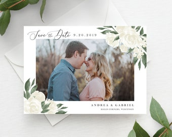 White Floral Greenery Save the Date Template