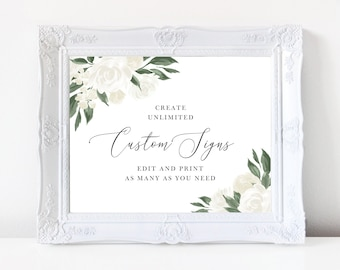 White Floral Greenery Wedding Sign Template