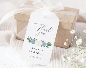 Dusty Blue and White Floral Wedding Favor Tags Template