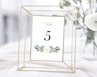 Dusty Pink and White Floral Table Numbers Template