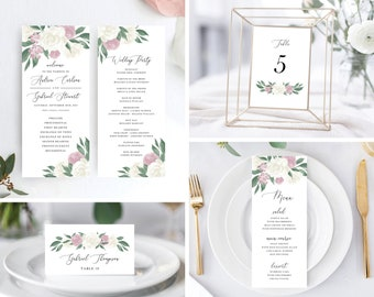 Dusty Rose and White Floral Wedding Day Bundle