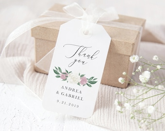 Dusty Rose and White Floral Wedding Favor Tags Template