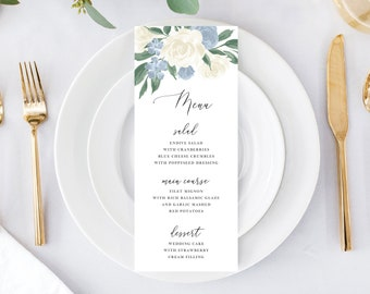 Dusty Blue and White Floral Wedding Menu Template