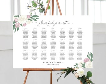 Dusty Rose and White Floral Wedding Seating Chart Template