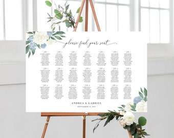 Dusty Blue and White Floral Seating Chart Template