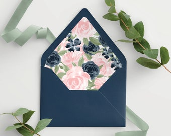 Printable A7 Envelope Liner with Blush Pink and Navy Floral for Euroflap or Pointed Envelopes 137V1WED