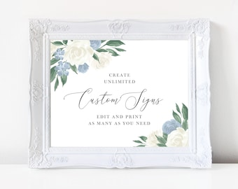 Dusty Blue and White Floral Wedding Sign Template