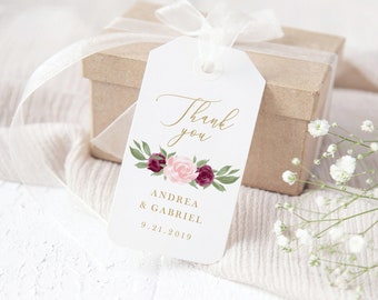 Wedding Gift Tag Template, Thank You Gift Favor Tags, Bridal Shower, Baby Shower, Instant Download Template, Burgundy and Pink Floral