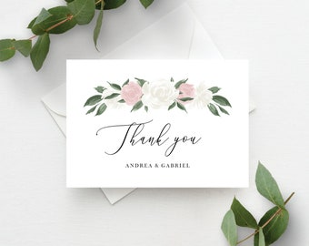Blush Pink and White Floral Thank You Card Template