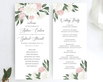 Blush Pink and White Floral Wedding Program Template