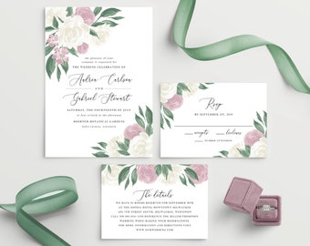 Dusty Rose Floral Wedding Invitation Template