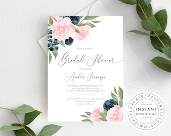 Bridal Shower Invitation template, Blush Pink and Navy Floral, Bridal Shower Invite, Printable, Instant Download, Templett 137V1WED
