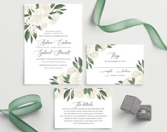 White Floral Greenery Wedding Invitation Template