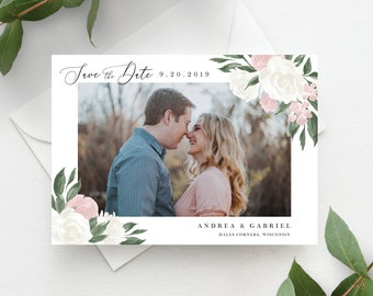 Blush Pink and White Floral Save the Date Template