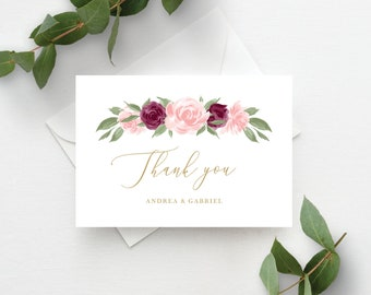 Thank You Card Template, Thank You Cards, Instant Download, Editable Template, Blush Pink and Burgundy Floral Printable