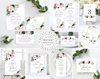 Wedding Invitation Template Bundle, Blush Pink and Navy Floral 137V1WED