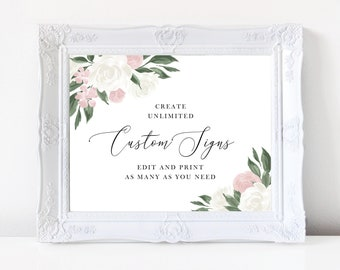 Wedding Sign Template with Blush Pink and White Floral Design, Fully Editable Colors and Wording with Templett, 137V11