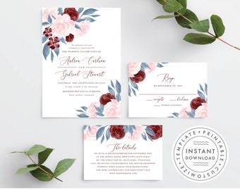 Dusty Blue, Blush Pink and Burgundy Floral Wedding Invitation Template
