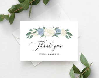 Dusty Blue and White Floral Thank You Card Template