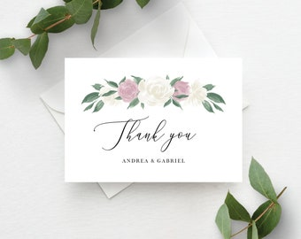 Dusty Rose and White Floral Thank You Card Template