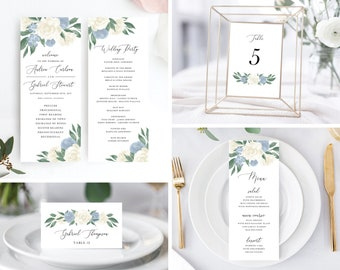Dusty Blue and White Floral Wedding Day Bundle