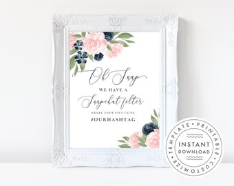 Wedding Snapchat Filter Sign, Social Media Sign Template, Floral Navy and Blush Pink  137V1WED