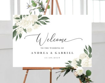 White Floral Greenery Welcome Sign Template
