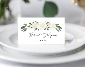 White Floral Greenery Wedding Place Cards Template